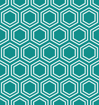 Teal and White Hexagon Tiles Pattern Repeat Background that is seamless and repeats