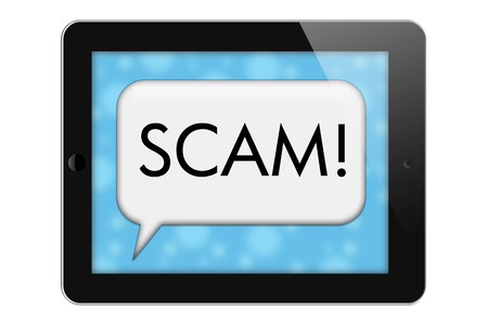 Scam Alerts, Tablet with words Scam in Text Bubble isolated on a white background photo
