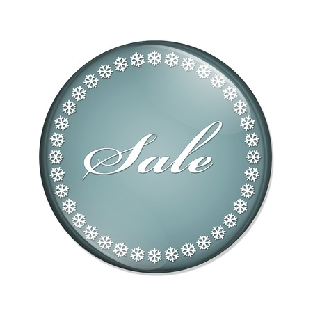 overwhite: Winter Sale Button, A blue button with snowflakes with word Sale isolated on a white background Stock Photo