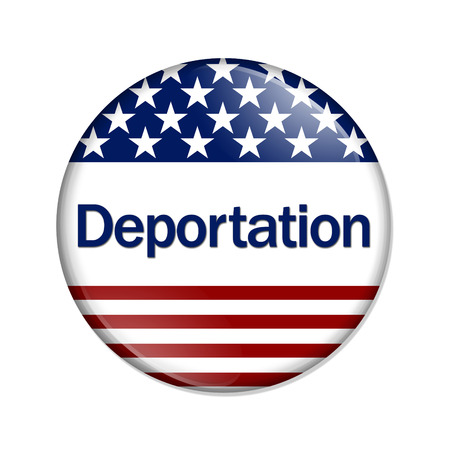 Deportation Button , A white button with red stripes and stars with word Deportation isolated on a white background photo