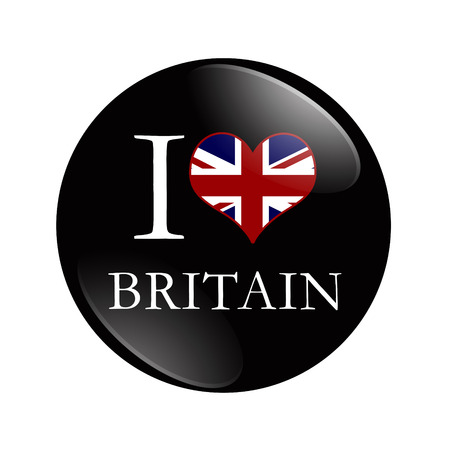 overwhite: I Love Britain button,  A black button with words I Love Britain and a heart with the flag isolated on a white background
