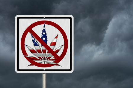 under the influence: Driving Under the Influence of  Marijuana, A road highway sign with a marijuana leaf in USA flag colors with stormy sky background