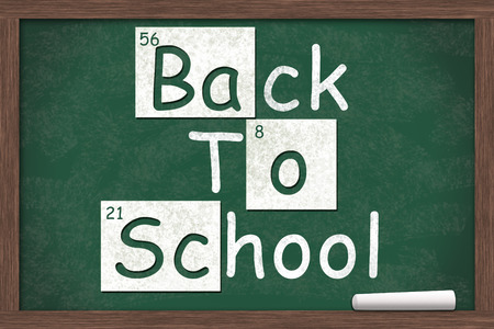 of back: Back to School, Back to School written on a chalkboard with letters from the periodic table and a piece of white chalk