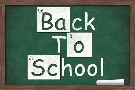 scuola: Ritorno a scuola, torna a scuola scritto su una lavagna con le lettere della tabella periodica e un pezzo di gesso bianco