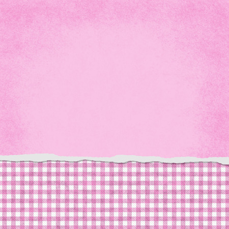 Square Pink and White Gingham Torn Grunge Textured Background with copy space at top