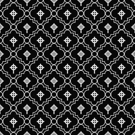 celtic cross: Black and White Celtic Cross Symbol Tile Pattern Repeat Background that is seamless and repeats Stock Photo