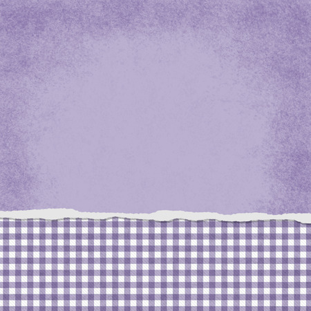 Square Purple and White Gingham Torn Grunge Textured Background with copy space at top photo