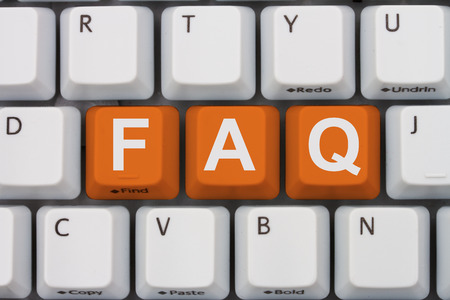 Getting the FAQs online, A gray computer keyboard with the word FAQ in orange letters