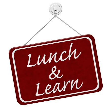 Lunch and Learn Schild, ein rotes Schild mit dem Wort Lunch and Learn isoliert auf einem weißen Hintergrund Standard-Bild - 37148804