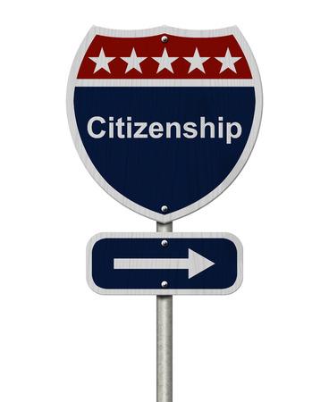 市民権この方法署名、言葉の市民権が分離された白で青、赤と白の道路サイン 写真素材