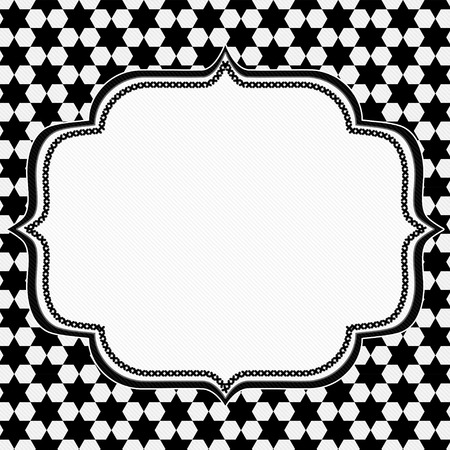 Black and White Hexagon Background with Embroidery with center for copy-space, Classic Hexagon Background photo