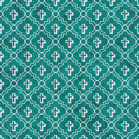 tile pattern: Teal and White Cross Symbol Tile Pattern Repeat Background that is seamless and repeats Stock Photo