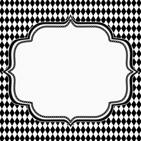 diamond background: Black and White Diamond Background with Embroidery with center for copy-space, Classic Diamond Background Stock Photo