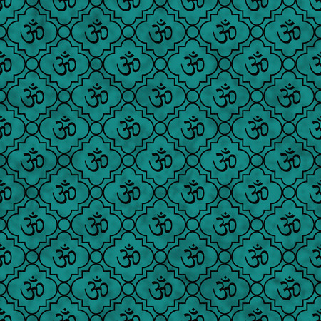 Teal and Black Aum Hindu Symbol Tile Pattern Repeat Background that is seamless and repeats