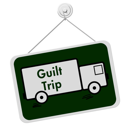 overwhite: Guilt Trip Sign, A green and white sign with the words Guilt Trip and truck isolated on a white background Stock Photo
