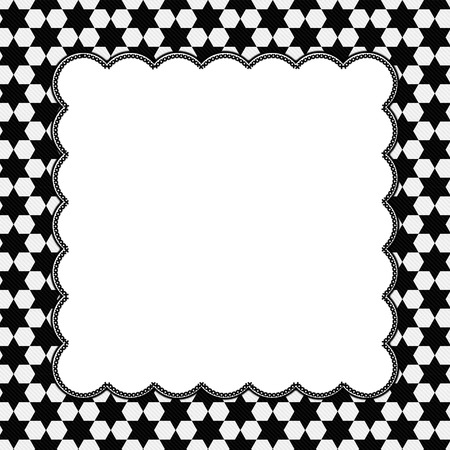Black and White Hexagon Background with Embroidery with center for copy-space, Classic Hexagon Background