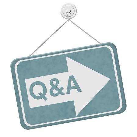 control de calidad: Q & A Esta muestra de la manera, un cartel azul con la palabra Q & A con una flecha aislado en un fondo blanco