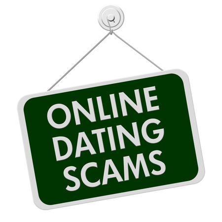 hustle: A green and white sign with the words Online Dating Scam isolated on a white background