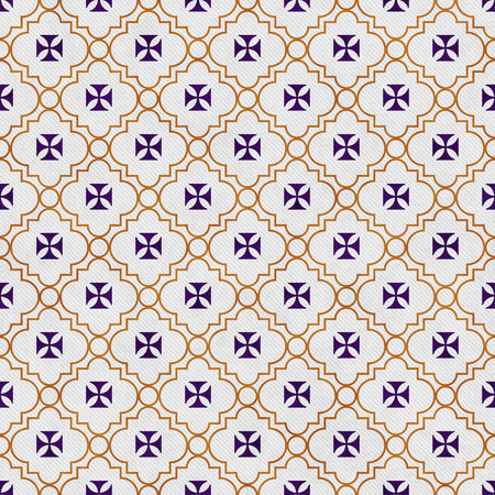 Paars en goud Maltezer Kruis symbool Patroon van de Tegel Achtergrond herhalen Stockfoto