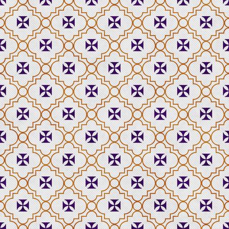 Purple and Gold Maltese Cross Symbol Tile Pattern Repeat Background Reklamní fotografie