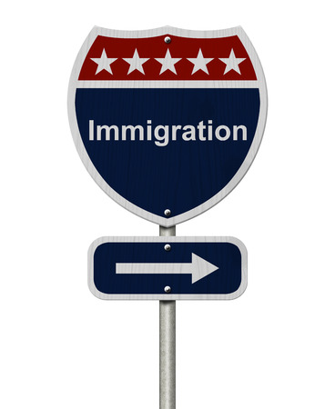 Blue, Red and White highway sign with words Immigration isolated on white photo
