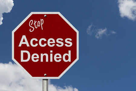 access denied: Stop Access Denied Road Sign, Stop sign with words stop Access Denied with a sky background Stock Photo