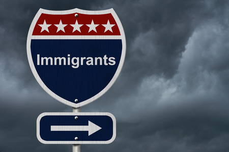 Immigrants this way sign, Blue, Red and White highway sign with words Immigrants with stormy sky background photo