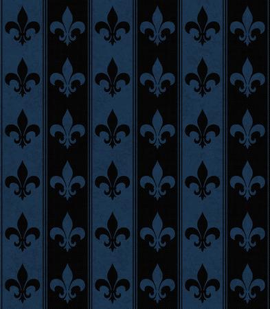 azul marino: Fondo negro y azul marino flor de lis con textura de la tela que es transparente y se repite