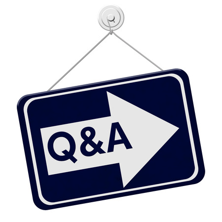 qa: Q&A This Way Sign,  A blue sign with the word Q&A with an arrow isolated on a white background
