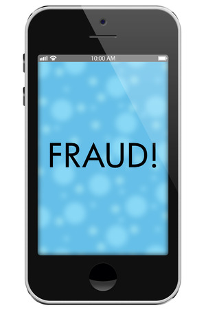 txt: Fraud Alert, Mobile Phone with words Fraud in Text isolated on a white background