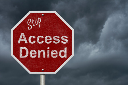 Stop Access Denied Road Sign, Stop sign with words stop Access Denied with a stormy sky background Stock Photo - 38974359