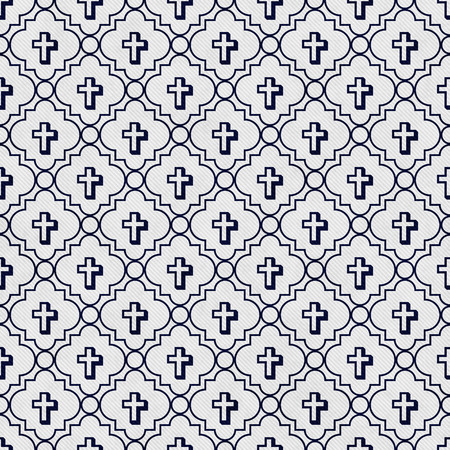 navy blue background: Navy Blue and White Cross Symbol Tile Pattern Repeat Background that is seamless and repeats Stock Photo