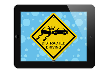 distracted: Warning of Distracted Driving, Tablet Phone Warning of Distracted Driving Sign isolated on a white background Stock Photo