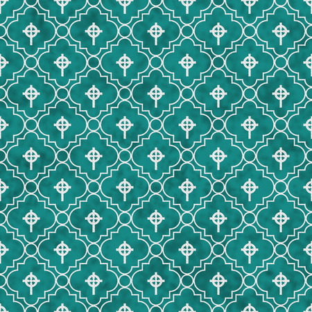 celtic cross: Teal and White Celtic Cross Symbol Tile Pattern Repeat Background that is seamless and repeats Stock Photo