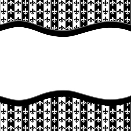 pager: Black and White Fleur De Lis Pattern Textured Fabric  with Ribbon Background with center copy-space, Classic Background
