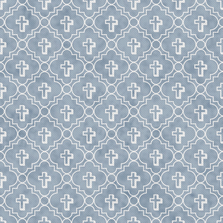 Pale Blue and White Cross Symbol Tile Pattern Repeat Background that is seamless and repeats
