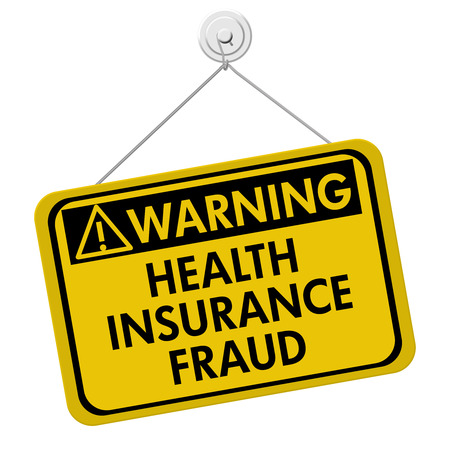 fraud: Health Insurance Fraud Warning Sign,  A yellow sign with the words Health Insurance Fraud isolated on a white background Stock Photo