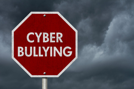 cyber bullying: Stop Cyber Bullying Road Sign, Stop sign with words stop Cyber Bullying with stormy sky background