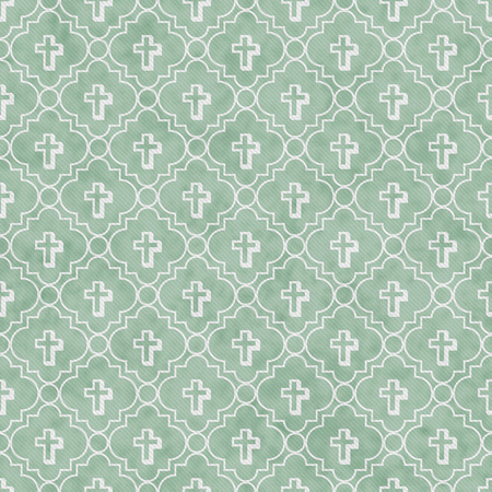 pale green: Pale Green and White Cross Symbol Tile Pattern Repeat Background that is seamless and repeats Stock Photo
