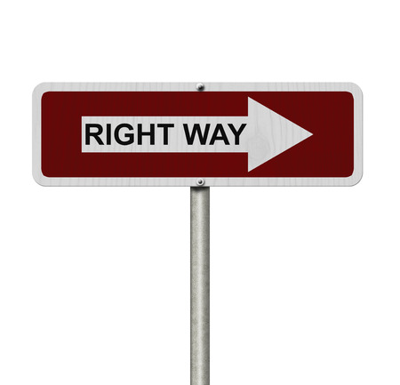 way: This is the right way, Red and white street sign with word Right Way isolated on white Stock Photo