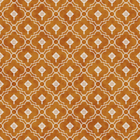celtic cross: Orange and White Celtic Cross Symbol Tile Pattern Repeat Background that is seamless and repeats Stock Photo