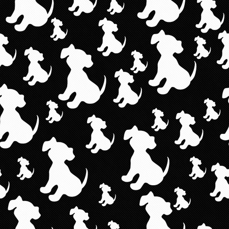 repeats: Black and White Puppy Dog Tile Pattern Repeat Background that is seamless and repeats