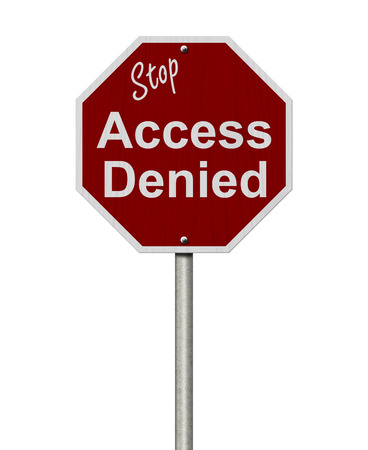 Stop Access Denied Road Sign, Stop sign with words stop Access Denied isolated on white