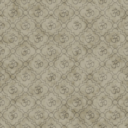 Brown Aum Hindu Symbol Tile Pattern Repeat Background that is seamless and repeats Stock Photo