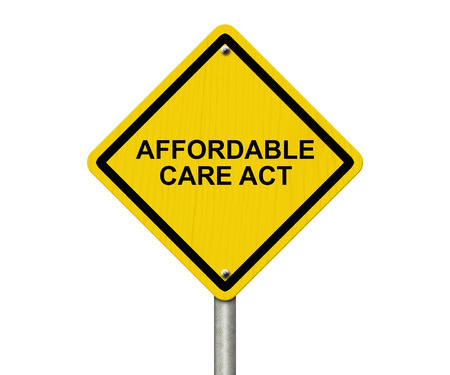 obama care: Affordable Care Act Warning Sign, Yellow warning road sign with word Affordable Care Act isolated on white Stock Photo