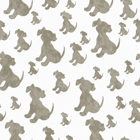 ecru: Brown and White Puppy Dog Tile Pattern Repeat Background that is seamless and repeats Stock Photo