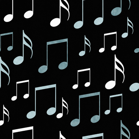 repeat: Blue, Black and White Music Notes Tile Pattern Repeat Background