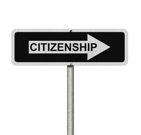 citizenship: The way to getting Citizenship, Black and white street sign with word Citizenship isolated on white Stock Photo
