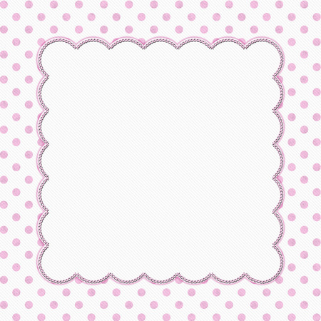 polka: Pink and White Polka Dot Frame with Embroidery Stitches Background with center for your message