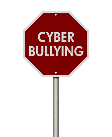 cyber bullying: Stop Cyber Bullying Road Sign, Stop sign with words stop Cyber Bullying isolated on white Stock Photo